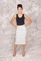 Clare - Black and White Polka Dot Pencil Skirt with Slit in Back