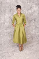 Darcy -Retro 1950's style Green Silk Satin Collar 3/4 Full Skirt Dress with pockets