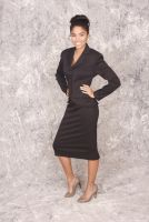 Dorene  -Retro 1950's style Black Jacket and Pencil Skirt with Crystal Button Detail