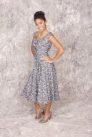 Kitty -Retro 1950's style Button Down Chambray Floral Full Skirt Dress with Low Scoop Back