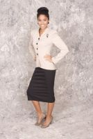 Lenore - Retro 1950's style Tan and Black Pink Stripe Jacket with Crystal Black Buttons Paired With A Black Pencil Skirt