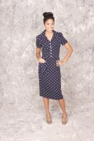 Lottie -Retro 1950's style Navy and White Polka Dot Collar Button Down Dress with Oversize Pocket Detail
