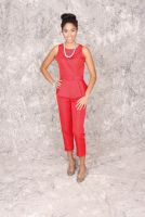 Ruby- Retro 1950's style Red Belted Peplum Button Down Back Sleeveless Top with pant