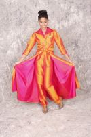 Valerie -Retro 1950's style Silk Satin Iridescent Orange/Hot Pink Wrap Jacket and Pant with Crystal Buttons