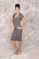 Jackie - Gray Sweetheart Neckline Pencil Dress with Pleated Button Detail on Back