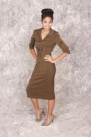 Susan -Retro 1950's style Olive Pencil  3/4 sleeve Dress with Bow Detail